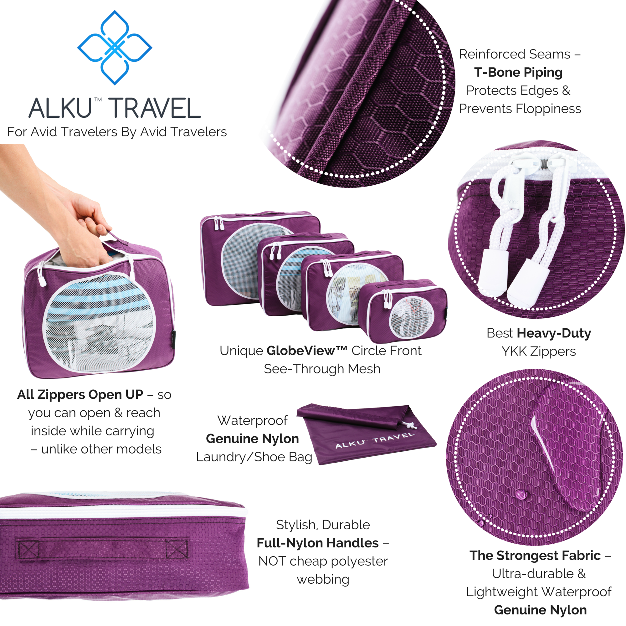 The features that make the Alku Travel organizers the best packing cubes